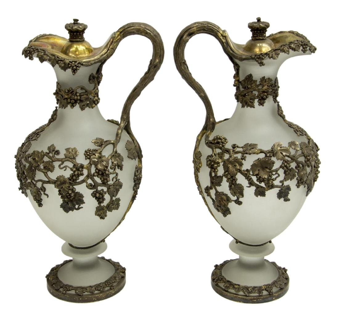 (2) ENGLISH MORTIMER & HUNT SILVER & GLASS EWERS - 3