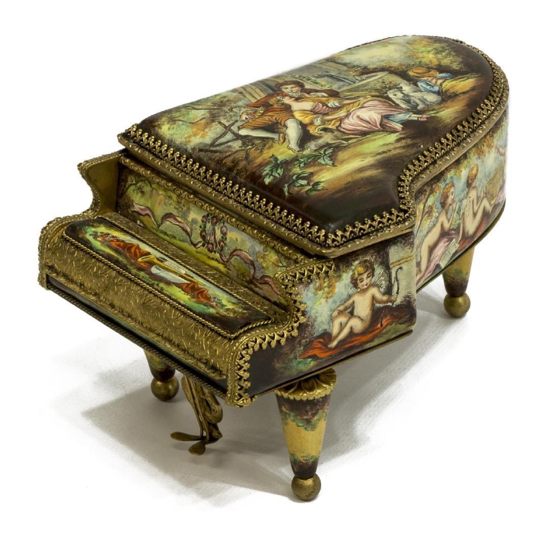 AUSTRIAN ENAMEL PAINTED PORCELAIN PIANO MUSIC BOX
