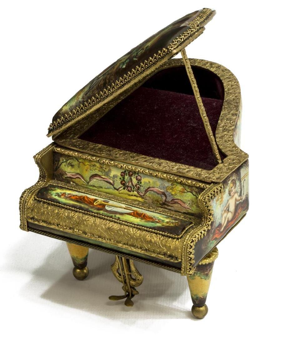 AUSTRIAN ENAMEL PAINTED PORCELAIN PIANO MUSIC BOX - 3