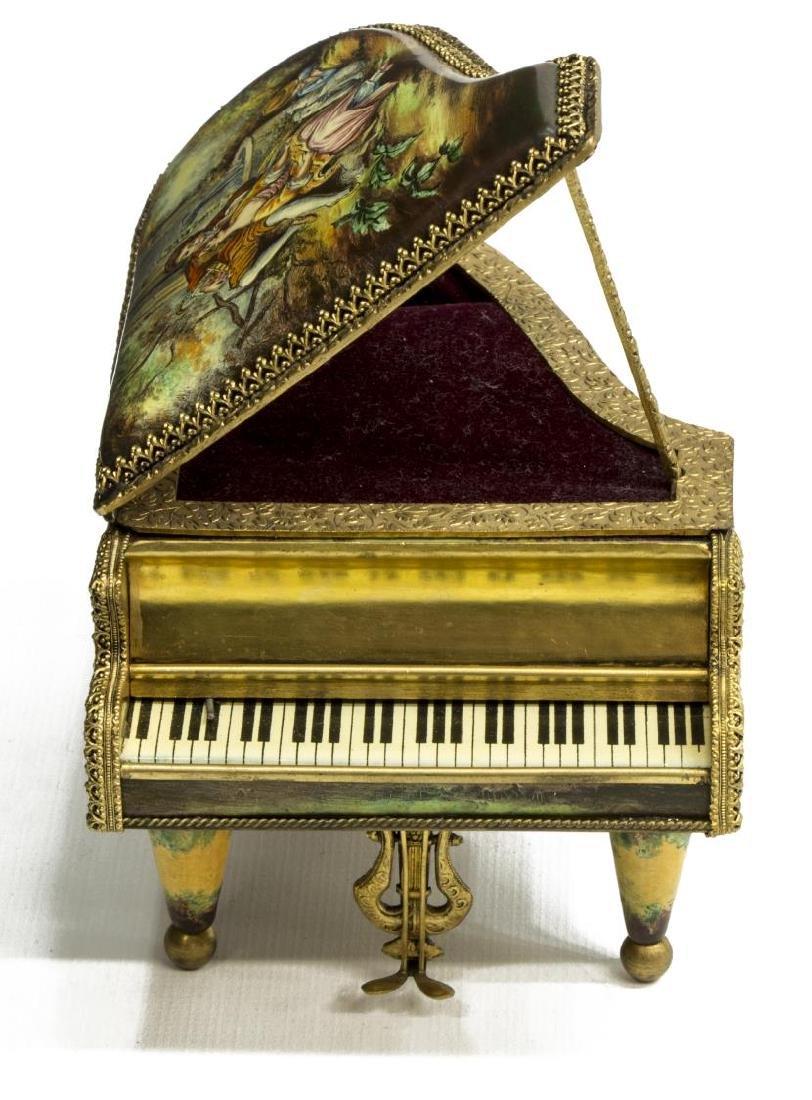AUSTRIAN ENAMEL PAINTED PORCELAIN PIANO MUSIC BOX - 6