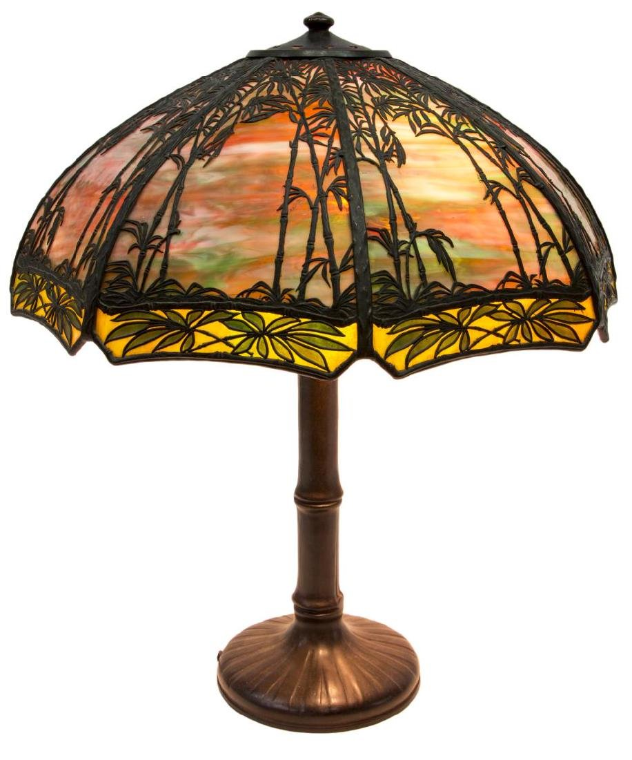HANDEL BAMBOO SUNSET GLASS & BRONZE TABLE LAMP