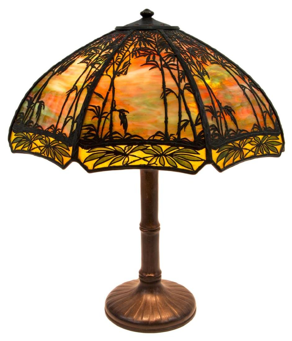 HANDEL BAMBOO SUNSET GLASS & BRONZE TABLE LAMP - 3