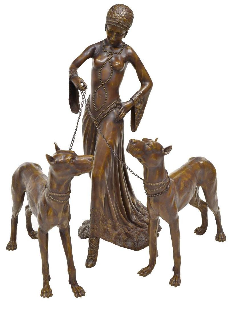 "BRONZE FLAPPER GIRL & TWO DOGS, 35""H"