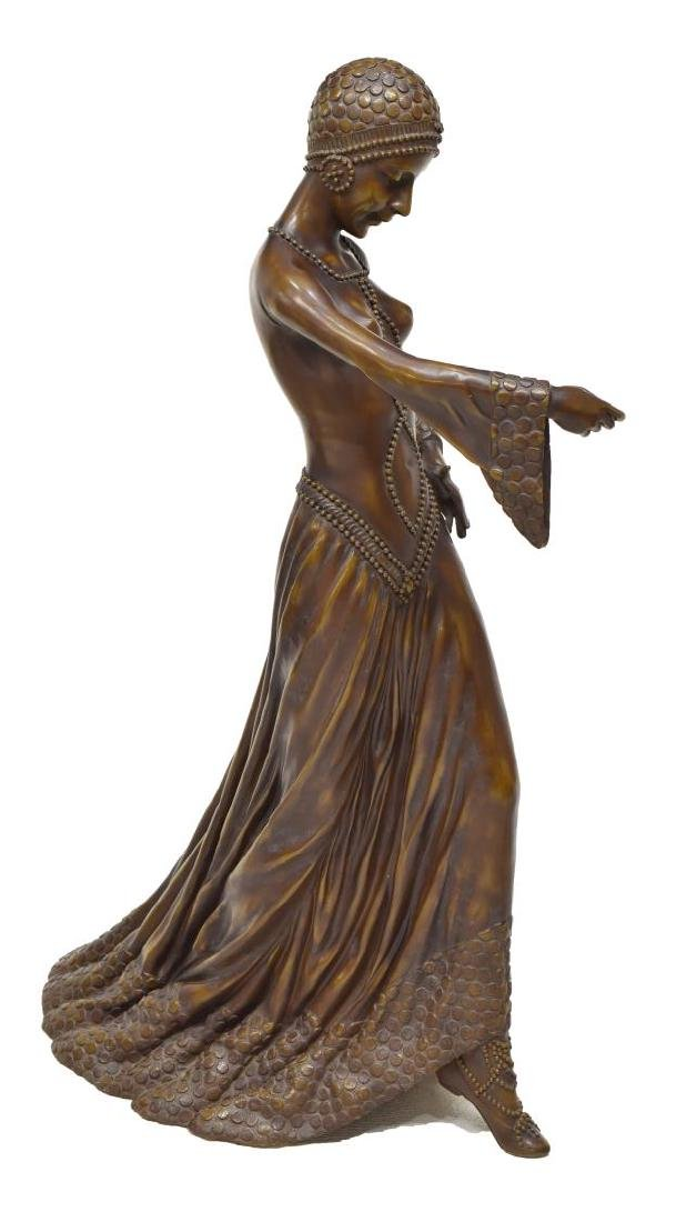 "BRONZE FLAPPER GIRL & TWO DOGS, 35""H - 2"