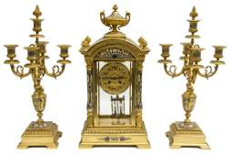 3 FRENCH GILT BRONZE CHAMPLEVE ENAMEL MANTEL SET