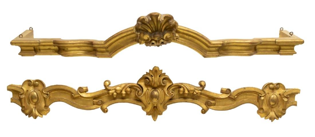 2) LOUIS XV STYLE GOLD LEAF ARCHITECTURAL VALENCES