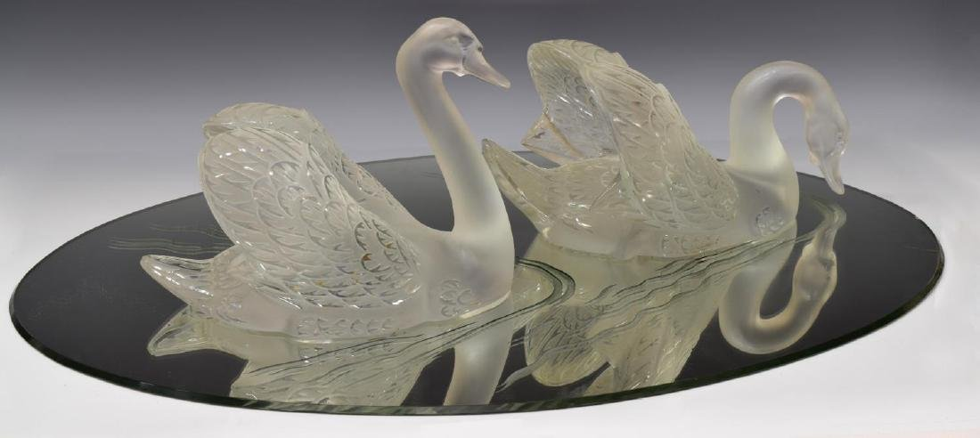 (3) LALIQUE FROSTED CRYSTAL SWAN & MIRROR PLATEAU - 2