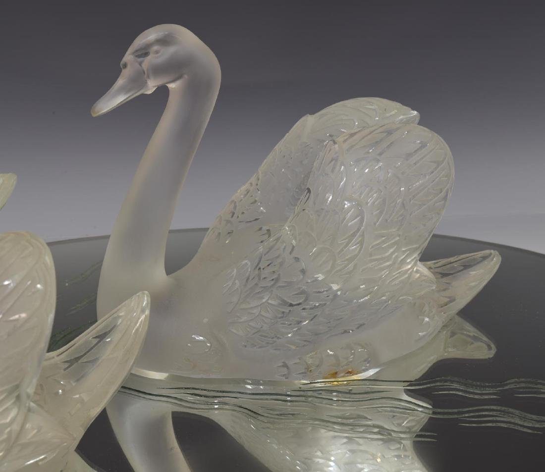 (3) LALIQUE FROSTED CRYSTAL SWAN & MIRROR PLATEAU - 3