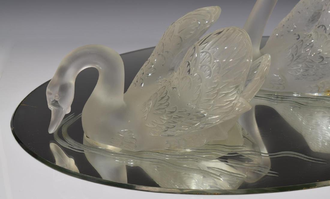 (3) LALIQUE FROSTED CRYSTAL SWAN & MIRROR PLATEAU - 4