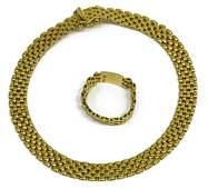 (2) ITALIAN MESH 18KT YELLOW GOLD BRACELET & RING