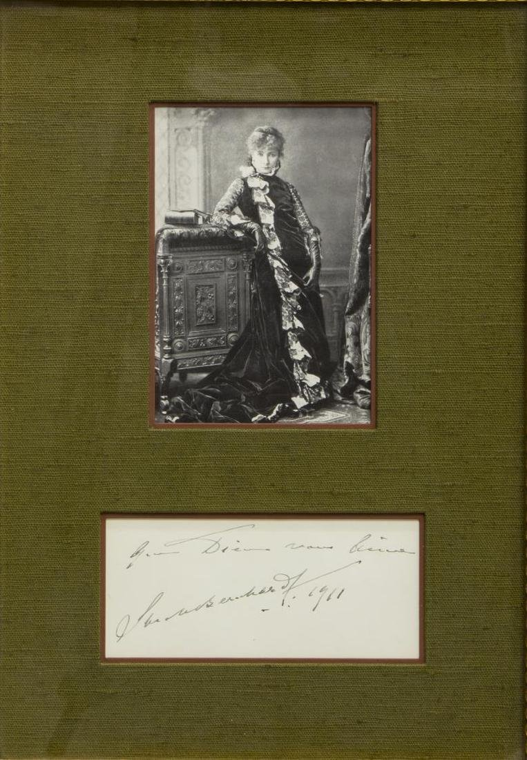 1911 AUTOGRAPH, SARAH BERNHARDT (1844-1923)