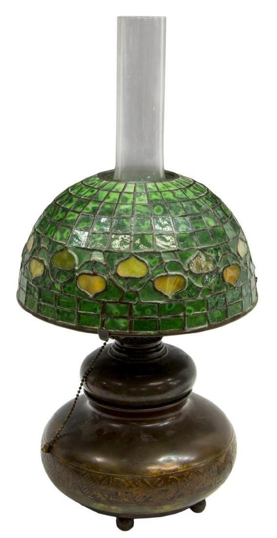 TIFFANY STUDIOS BRONZE KEROSENE LAMP ACORN SHADE