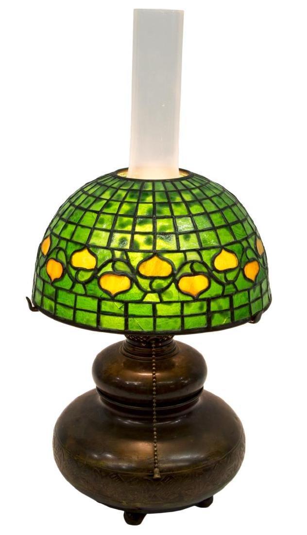 TIFFANY STUDIOS BRONZE KEROSENE LAMP ACORN SHADE - 2