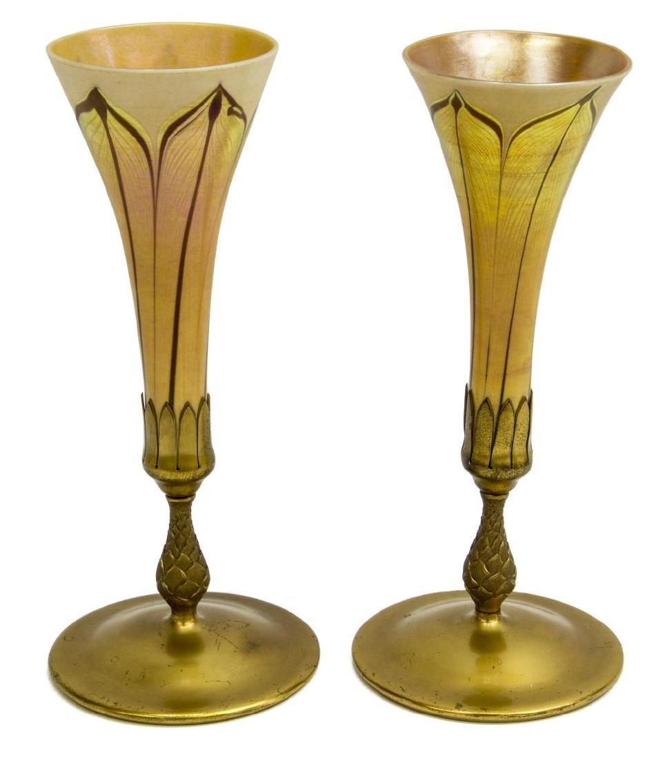 (PAIR) TIFFANY STUDIOS FAVRILE GLASS TRUMPET VASES