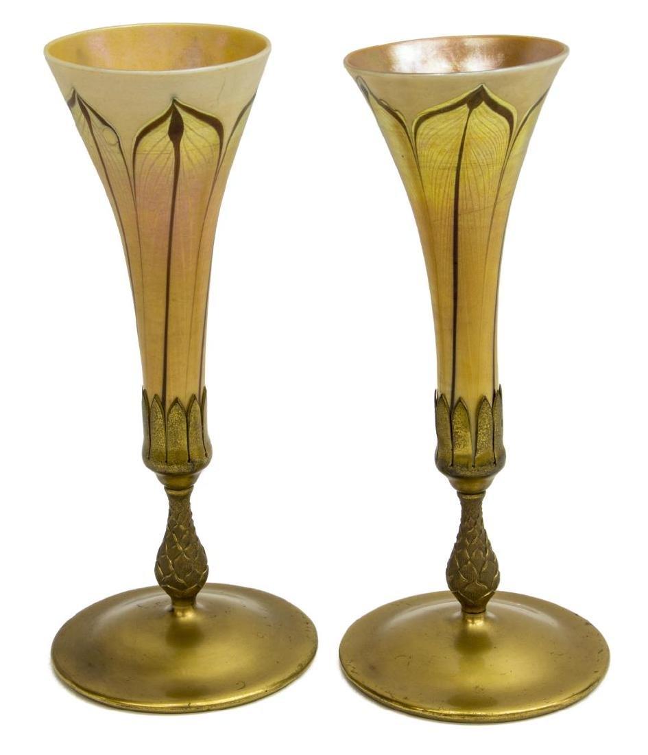 (PAIR) TIFFANY STUDIOS FAVRILE GLASS TRUMPET VASES - 2