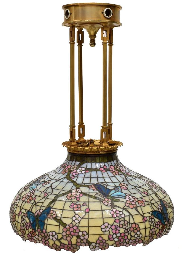 TIFFANY STYLE STAINED GLASS CHANDELIER - 2