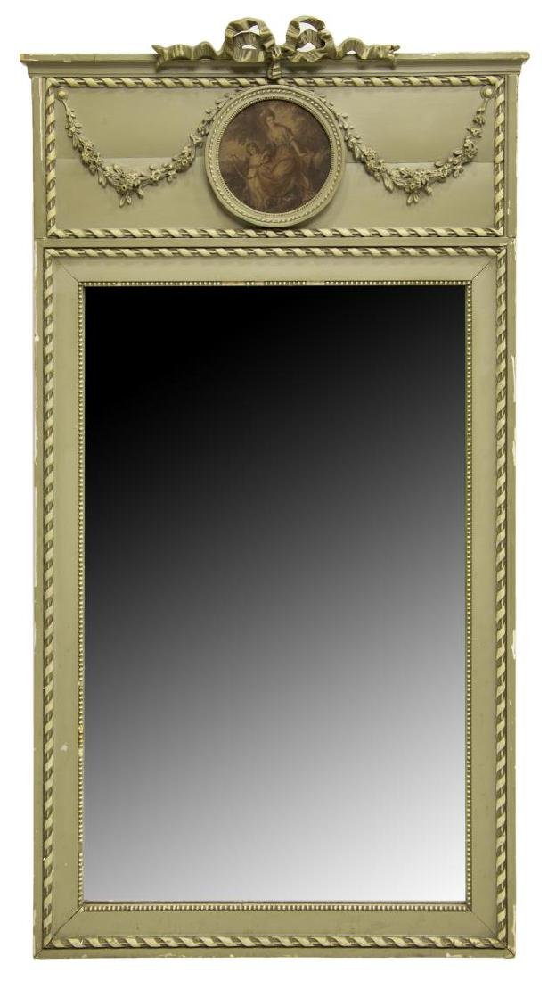 FRENCH PAINTED TRUMEAU WALL MIRROR