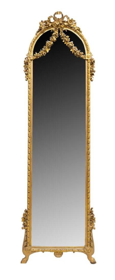 FRENCH LOUIS XVI STYLE FLORAL STANDING WALL MIRROR