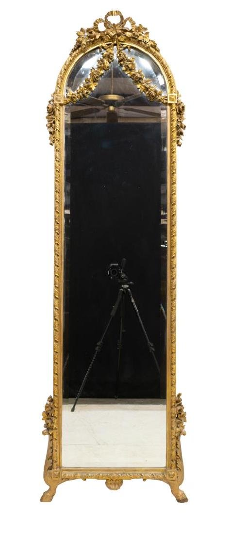 FRENCH LOUIS XVI STYLE FLORAL STANDING WALL MIRROR - 2