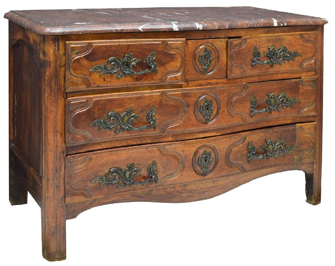 FRENCH LOUIS XIV CARVED WALNUT & MARBLE COMMODE