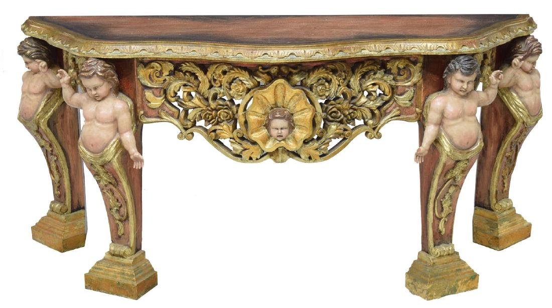 ITALIAN BAROQUE STYLE GILDED FIGURAL CONSOLE TABLE