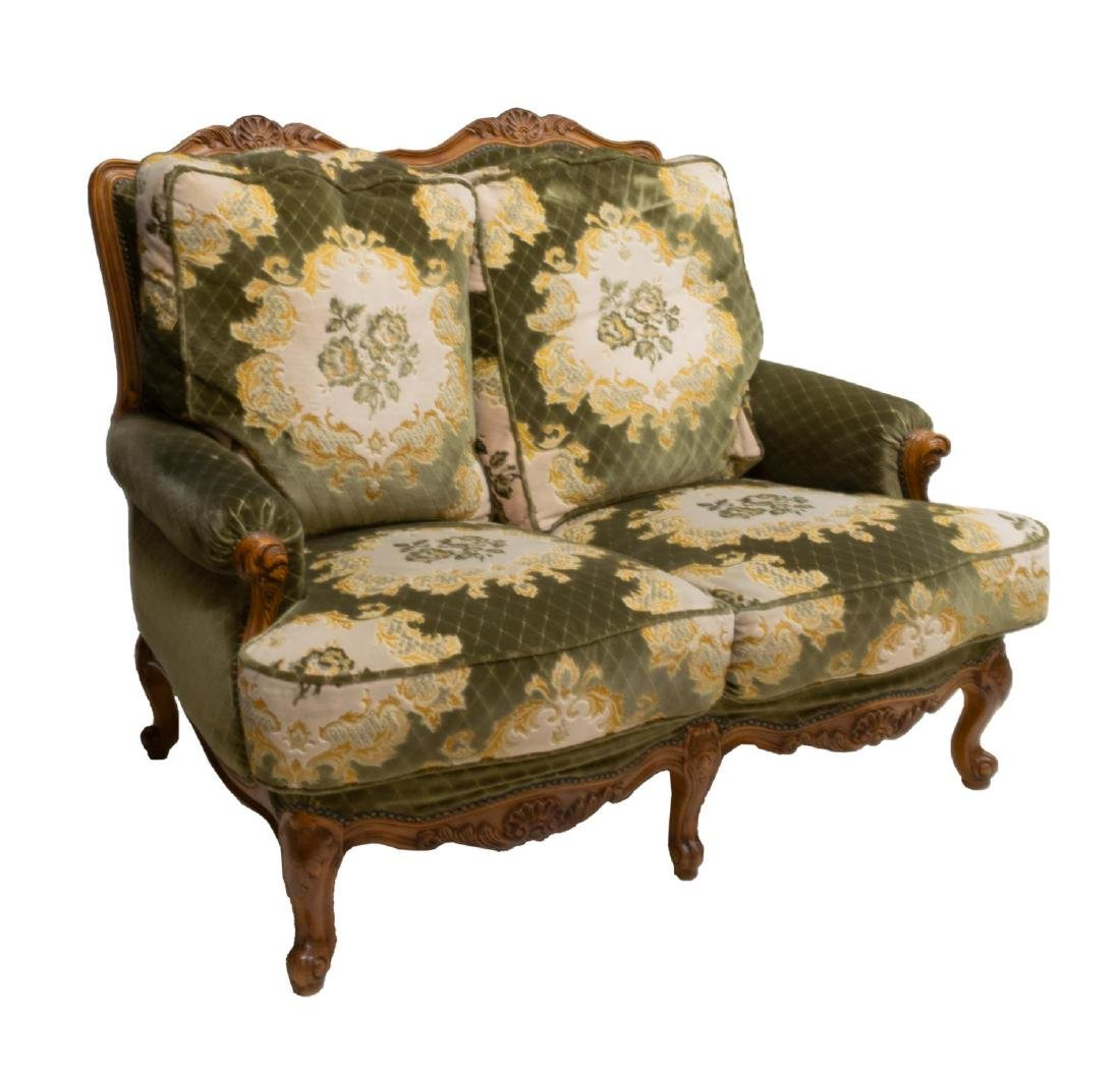 LOUIS XV STYLE SHELL CARVED UPOHOLSTERED SOFA