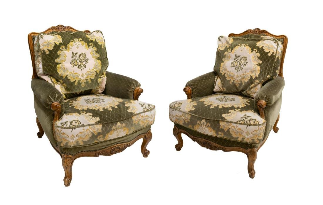 2) LOUIS XV STYLE CARVED FRUITWOOD HIGHBACK CHAIRS