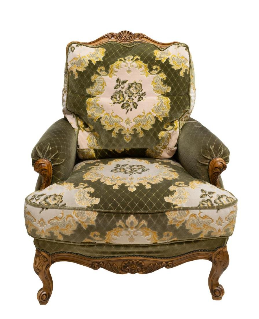 2) LOUIS XV STYLE CARVED FRUITWOOD HIGHBACK CHAIRS - 2