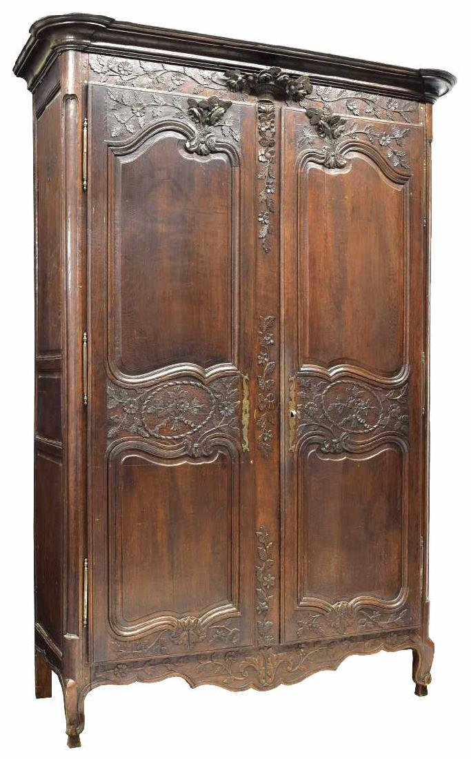 LOUIS XV STYLE HIGHLY CARVED OAK ARMOIRE, 19TH C.