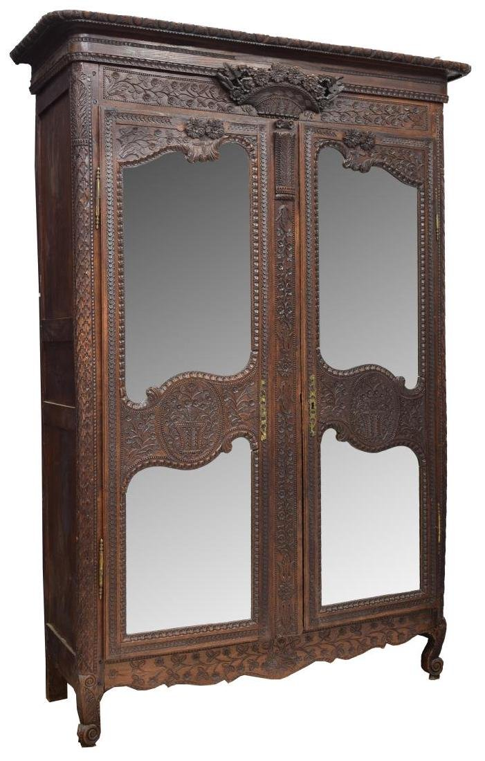 HIGHLY CARVED FRENCH LOUIS XV STYLE ARMOIRE