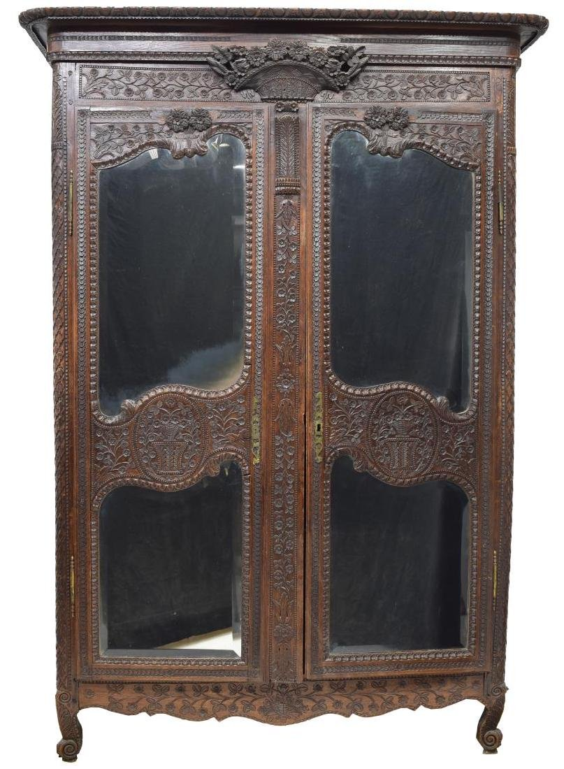 HIGHLY CARVED FRENCH LOUIS XV STYLE ARMOIRE - 2