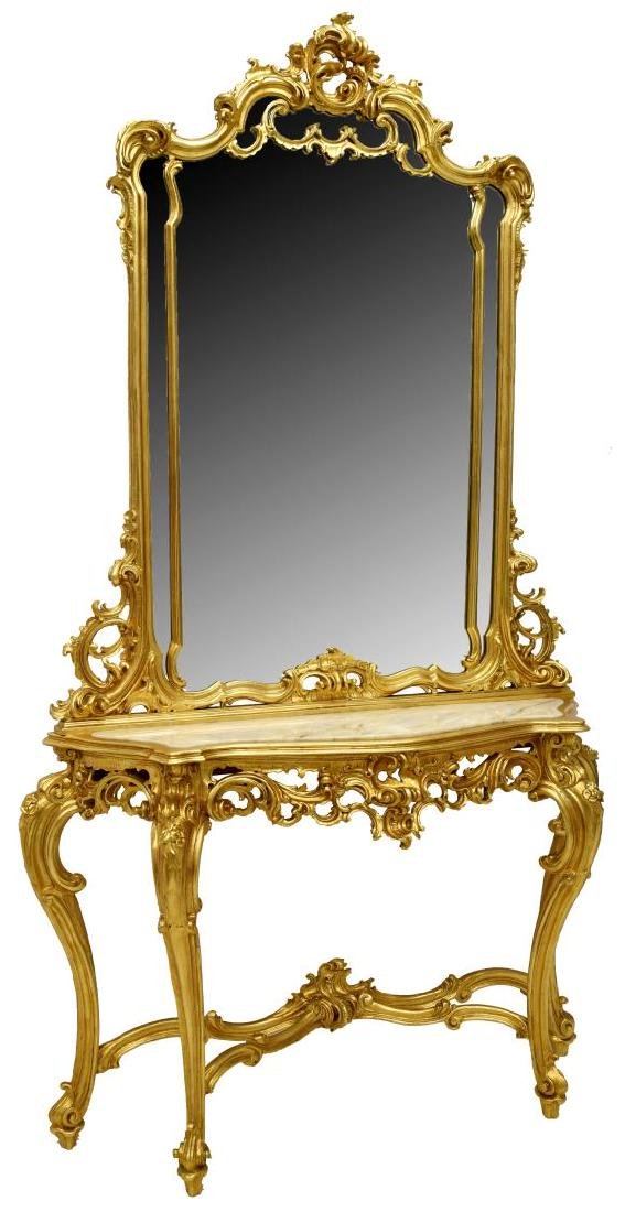 LOUIS XV STYLE GOLD LEAF CONSOLE TABLE & MIRROR