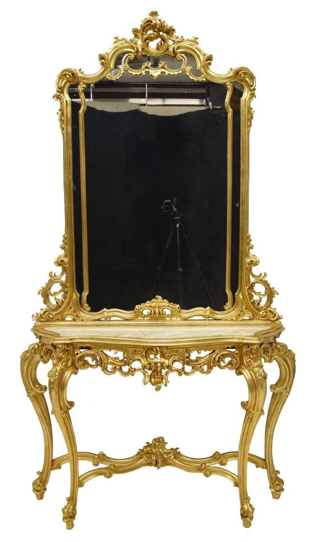 LOUIS XV STYLE GOLD LEAF CONSOLE TABLE & MIRROR - 2