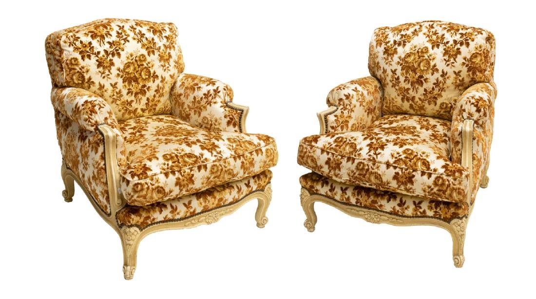 (2) FRENCH LOUIS XV STYLE OVERSIZED ARM CHAIRS