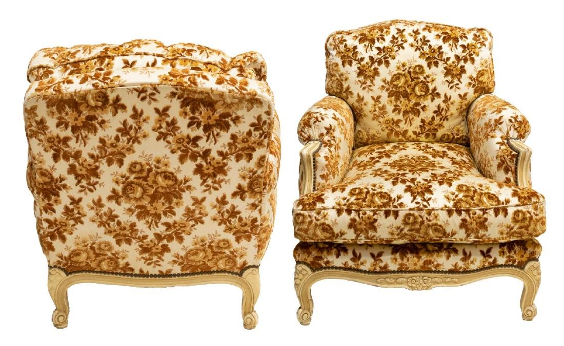 (2) FRENCH LOUIS XV STYLE OVERSIZED ARM CHAIRS - 2