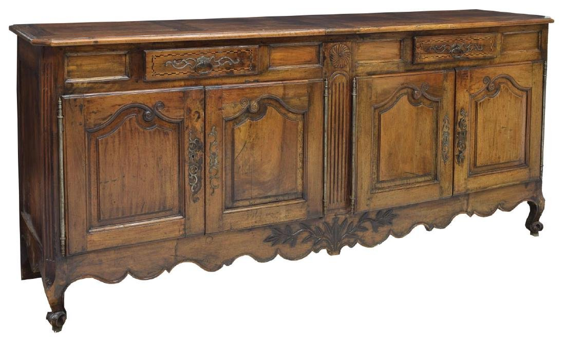 LOUIS XV STYLE PARQUETRY FOLIATE CARVED SIDEBOARD