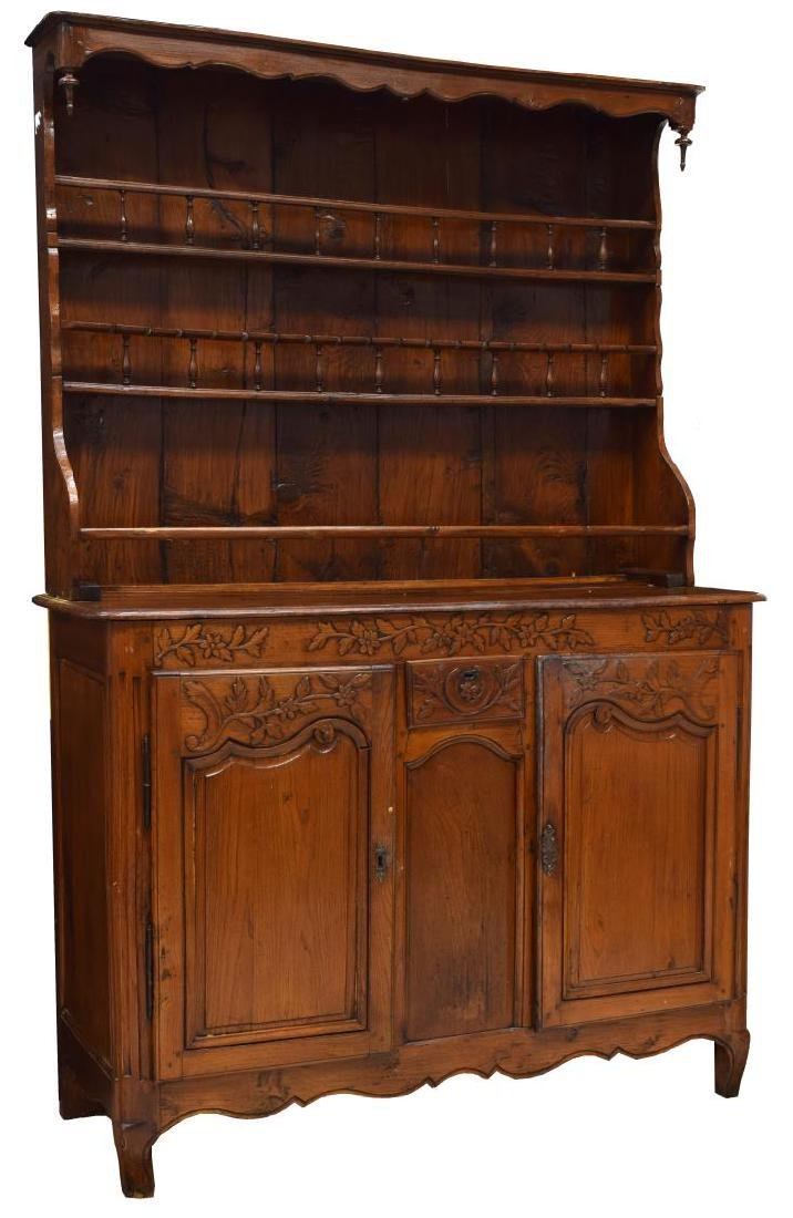 FRENCH OAK CARVED & SPINDLED VAISSELIER, 19TH C.