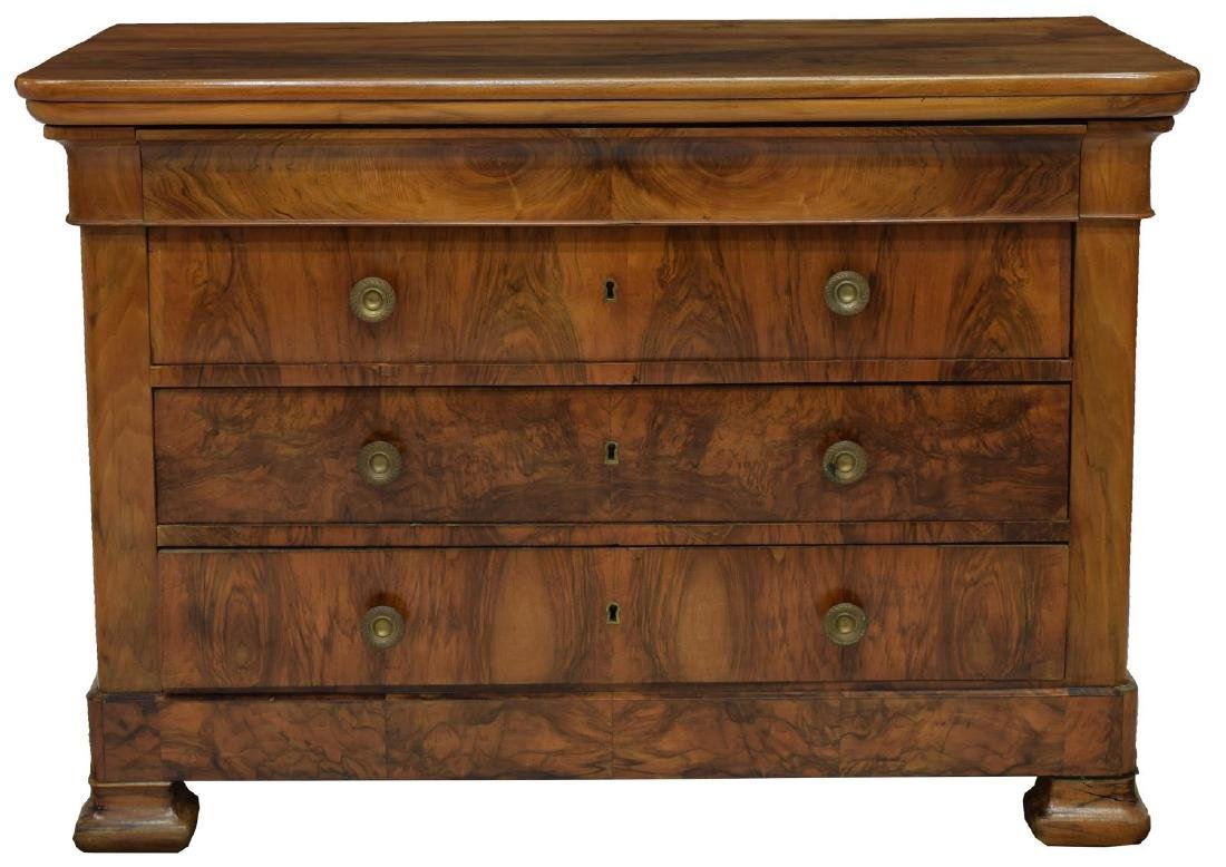FRENCH CHARLES X FIGURED WALNUT COMMODE - 2