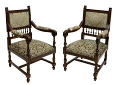 PAIR CONTINENTAL HENRY II STYLE ARMCHAIRS