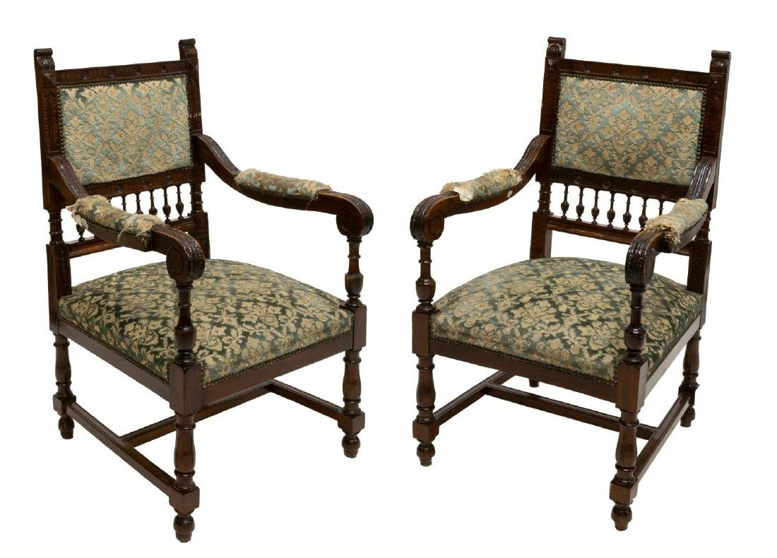 (PAIR) CONTINENTAL HENRY II STYLE ARMCHAIRS