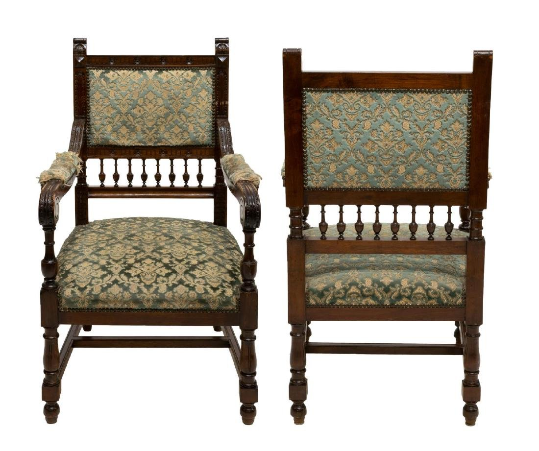 (PAIR) CONTINENTAL HENRY II STYLE ARMCHAIRS - 2