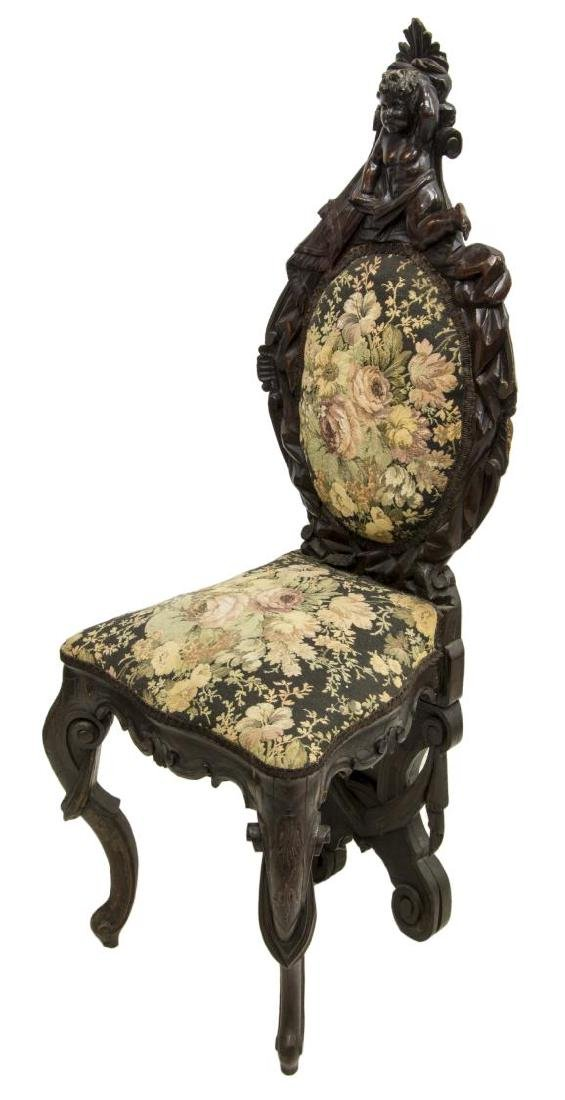 WELL CARVED ITALIAN BAROQUE STYLE HALL SIDE CHAIR