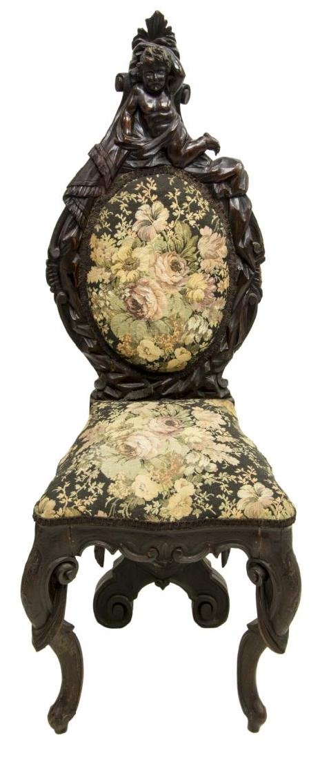 WELL CARVED ITALIAN BAROQUE STYLE HALL SIDE CHAIR - 2