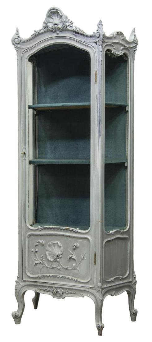 LOUIS XV SHELL CARVED PAINTED & GLAZED VITRINE