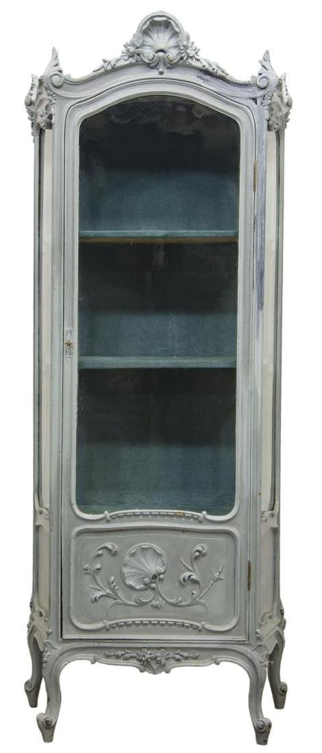 LOUIS XV SHELL CARVED PAINTED & GLAZED VITRINE - 2