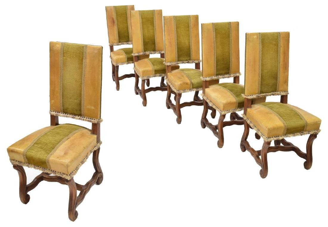 (6) SPANISH UPHOLSTERED & WOOD SIDE CHAIRS