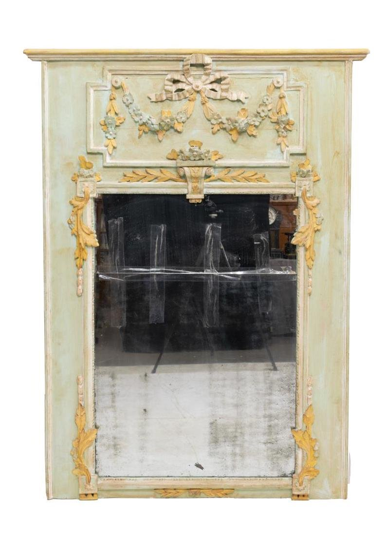 FRENCH LOUIS XVI STYLE PAINTED TRUMEAU MIRROR - 2