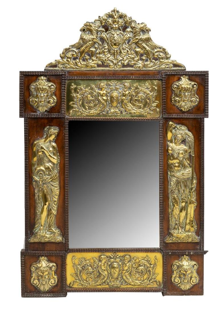 FRENCH BEVELED WALL MIRROR FIGURAL BRASS PLAQUES