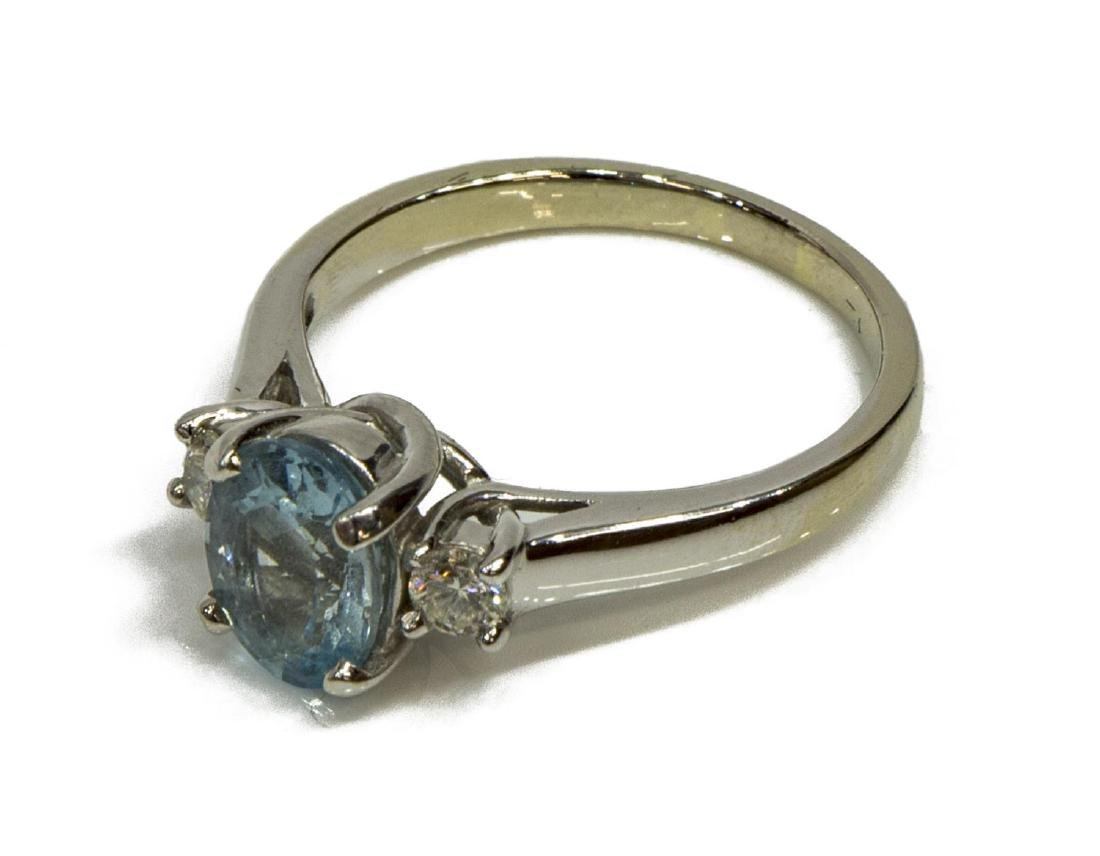 LADIES ESTATE 14KT WG, AQUAMARINE & DIAMOND RING