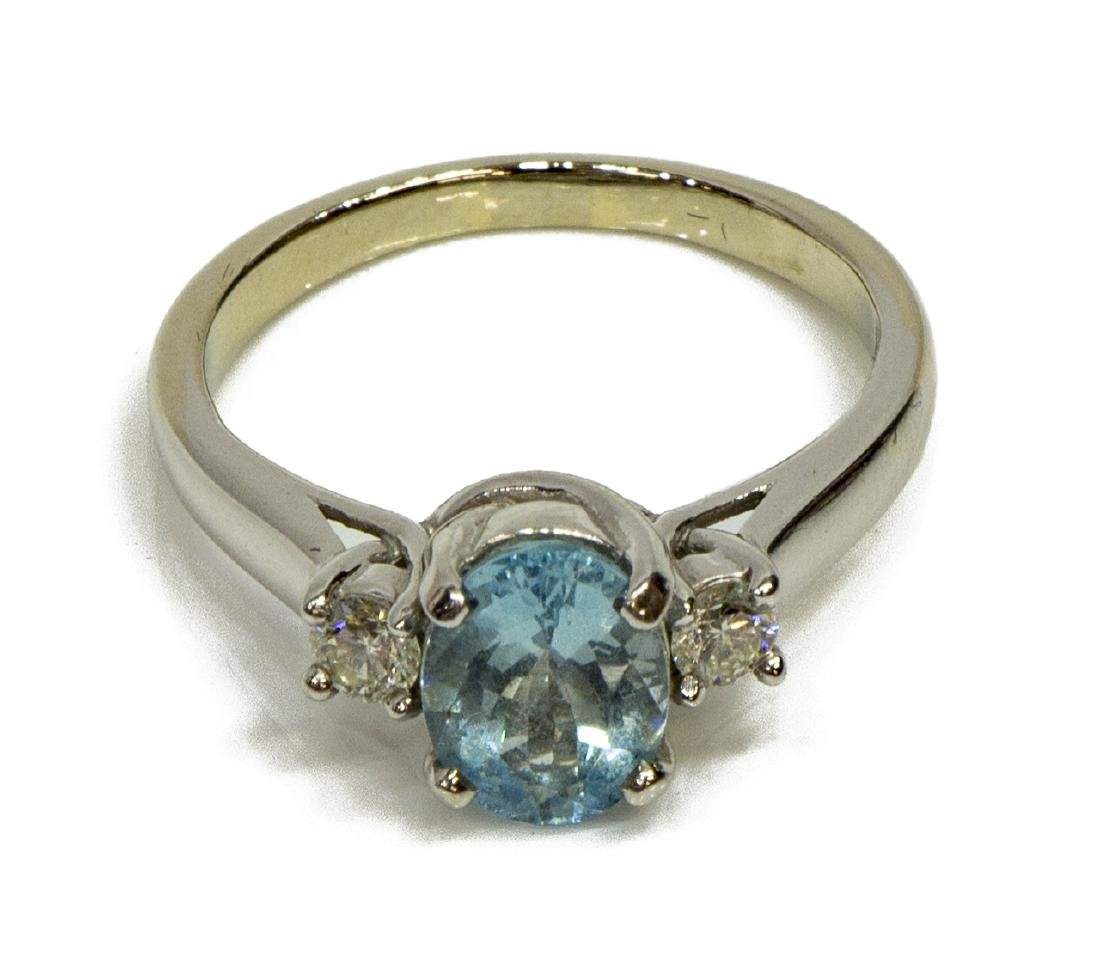 LADIES ESTATE 14KT WG, AQUAMARINE & DIAMOND RING - 2